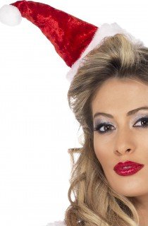 Damen Miniatur Weihnachtsmütze rot-weiss 19 cm