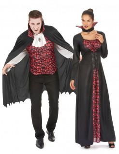 Adliger Vampir-Paarkostüm Halloween rot-schwarz