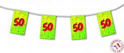 Wimpel Geburtstags-Girlande - Zahl 50 bunt 20 x 31 cm