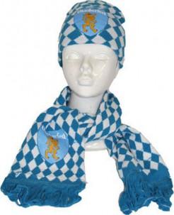 Oktoberfest-Set Schal und Mütze blau-weiss-gold