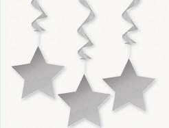 Hängedeko Girlande Stern 3 stück silber