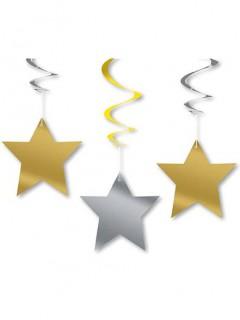 Hängedeko Girlande Stern 3 stück silber-gold