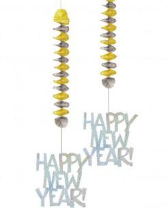Hängedeko Silvester Happy New Year 2 stück Silber-gold
