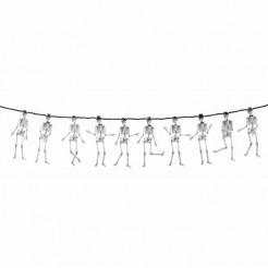 Tanzende Skelett Halloween-Dekoration weiss-schwarz 3m