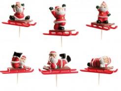 Weihnachtsmann auf Schlitten Party Picks bunt 6 teilig
