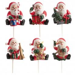 Weihnachtsmänner-Figuren Weihnachts-Dekoration 6 Stück rot-weiss-grün
