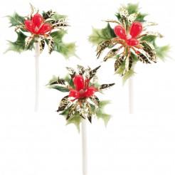 Party Picks Stechpalme Weihnachts-Deko grün-rot-gold 7cm