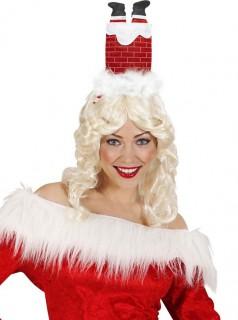 Lustiger Weihnachtshaarreif Kamin rot-schwarz-weiss