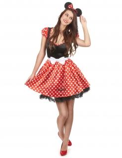 Minnie Mouse Disney Damenkostüm Maus Lizenzkostüm schwarz-rot-weiss