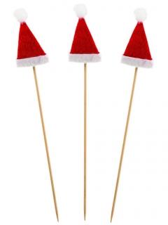 Cocktail Zahnstocher Weihnachtsmütze 12 stück rot-weiss 18 cm