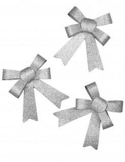 Glitzer Schleifen Weihnachtsdeko 3 stück silber 14 x 9 cm
