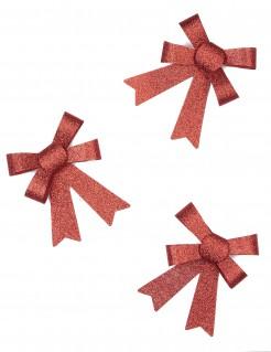 Glitzer Schleifen Weihnachtsdeko 3 stück rot 14 x 9 cm