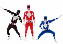 Morphsuits™ Power Rangers-Gruppenkostüm Karneval schwarz-rot-blau