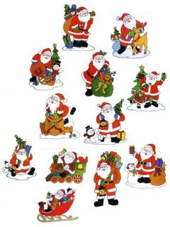Weihnachtsmann Fenster-Deko Sticker bunt