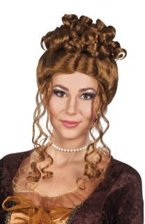 Gelockte Damen Renaissance Perücke braun