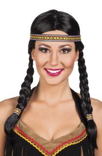 Damen Perücke-Indianerin mit Zöpfen und Stirnband dunkelbraun