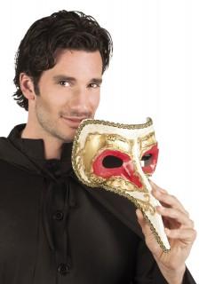 Venezianische Maske mit langer Nase rot-gold