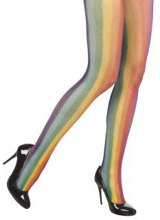 Regenbogen Netzstrumpfhose für Damen bunt