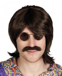Hippie Perücke mit Schnurrbart für Herren braun