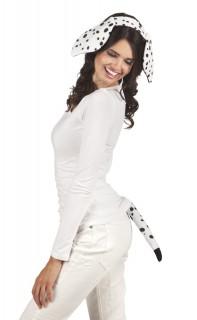 Dalmatiner kostüm-set Ohren und Schwanzschwarz-weiss