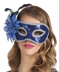 Venezianische Maske mit Feder blau