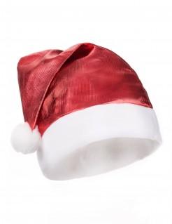 Weihnachtsmütze glänzendrot-weiss