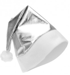 Weihnachtsmütze Metallic-Look silber