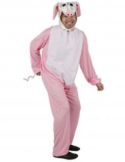 Schwein-Erwachsenenkostüm Tier rosa-weiss