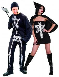 Skelett-Paarkostüm Halloween schwarz-weiss