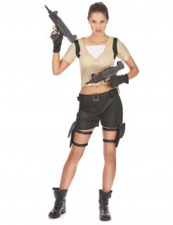 Sexy Soldatin Videospiel Damenkostüm beige-schwarz