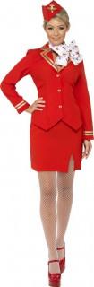 Sexy Stewardess Damenkostüm rot