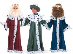 Heilige drei Könige-Gruppenkostüm für Kinder Karneval grün-rot-blau