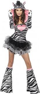 Sexy Zebra Damenkostüm weiss-schwarz