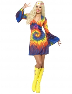 Hippie-Kostüm für Damen regenbogenfarben