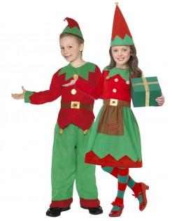 Weihnachtswichtel-Kostüm für Kinder Weihnachten grün-rot