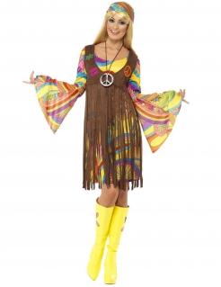 Retro Damenkostüm Hippie bunt