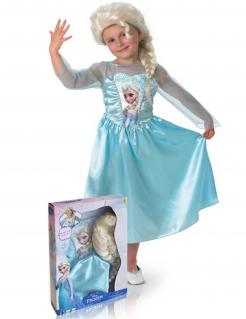 Die Eiskönigin Kostüm mit Perücke für Mädchen blau
