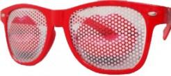 Kussmund Brille rot