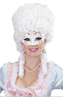 Venezianische Augenmaske mit Glitzer und Strass weiss