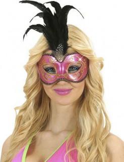 Augenmaske mit Glitzer-Steinen und Federn pink