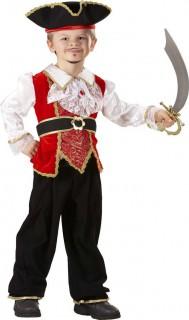 Jungen-Piratenkostüm rot-weiß-schwarz-gold