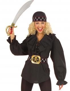 Piraten-Bluse Damen schwarz