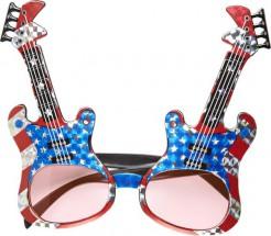 Brille Rockgitarre Amerika blau-weiß-rot