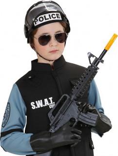 Swat Polizisten Helm für Kinder schwarz-weiss