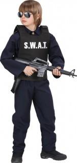 Polizist Weste SWAT für Kinder schwarz-weiss