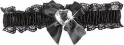 Satin Strumpfband mit Schleife und Herz schwarz-transparent