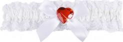 Satin Strumpfband Krankenschwester mit Schleife und Herz weiss-rot