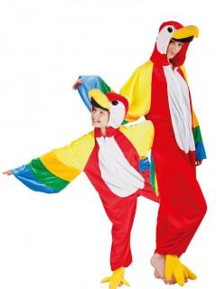 Papagei-Paarkostüm für Eltern und Kinder Fasching bunt