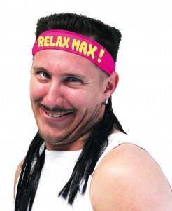 Bad Taste Stirnband mit Haaren Relax Max schwarz-rot-gelb