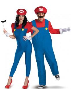 Super Mario™ Paarkostüm für Erwachsene blau-rot